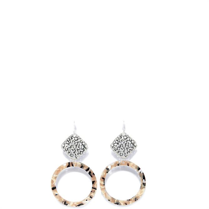 Envy Textured Silver Square Drop with Circle Hoop Earrings