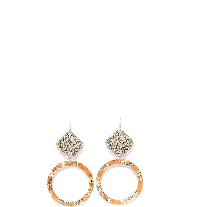 Envy Textured Golden Square Drop with Orange Circle Hoop Earrings