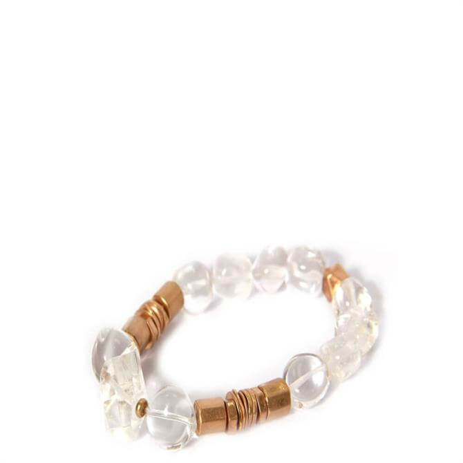 Envy Golden & Clear Beads Bracelet