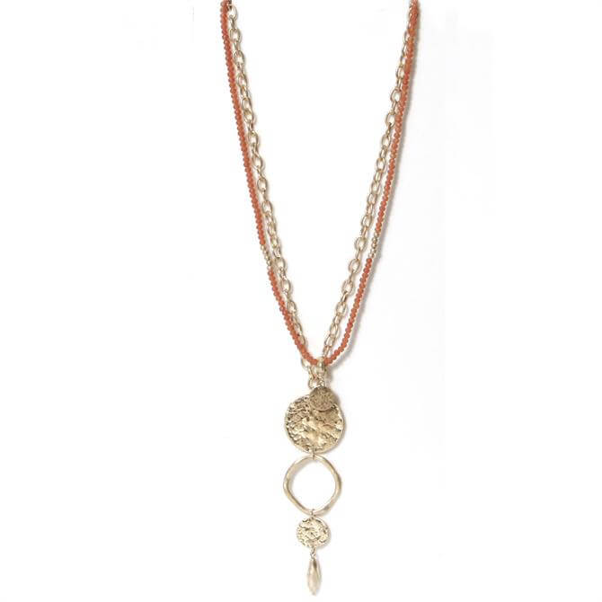 Envy Coral Beaded and Gold Chain Long Necklace