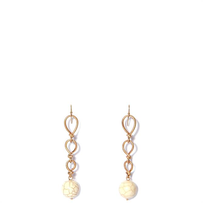 Envy Twisted Golden Drop Earrings with Cream Bead Pendant