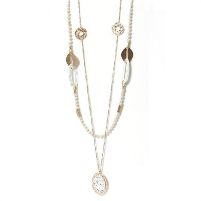 Envy Cream Beaded & Golden Pendant Necklace