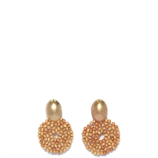 Envy Golden and Woven Bead Circle Earring