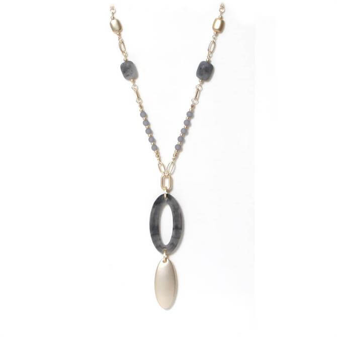 Envy Golden Necklace with Grey Oval Hoop