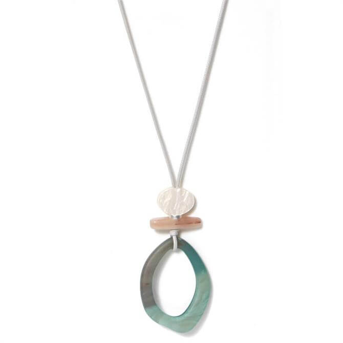 Envy Long Grey Cord Necklace with Green Oval Pendant