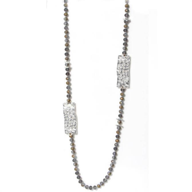 Envy Long Beaded Necklace with Rectangular Details