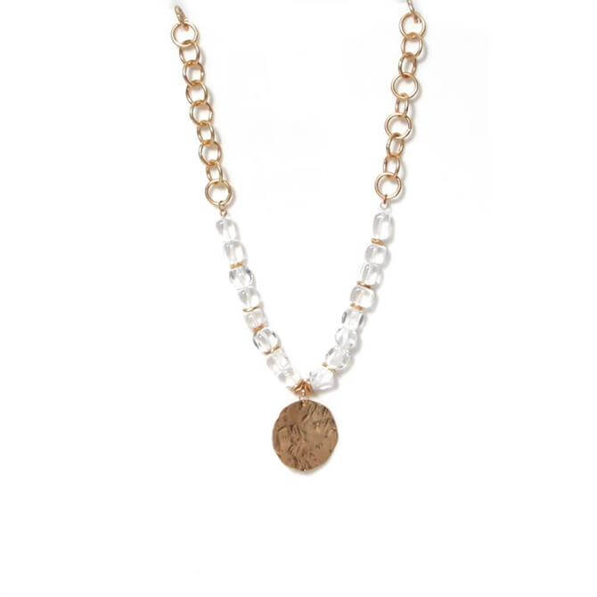Envy Clear Beads and Golden Link Short Necklace