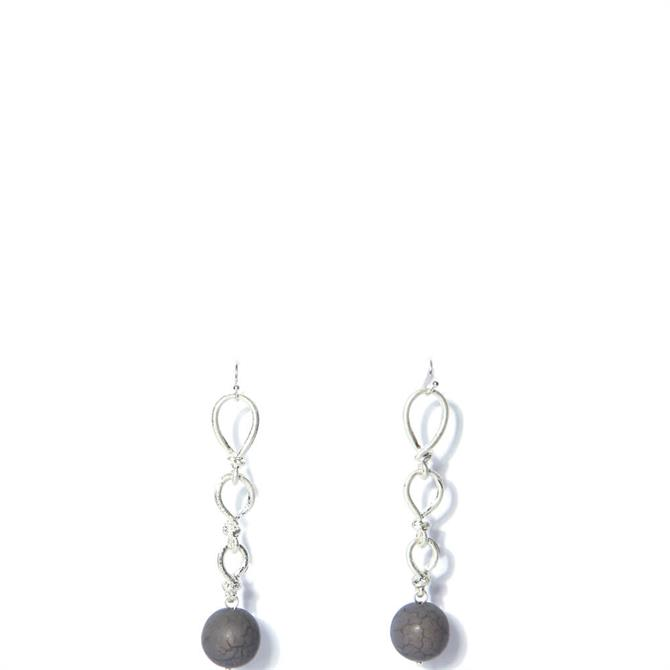 Envy Twisted Silver Drop Earrings with Grey Bead Pendant
