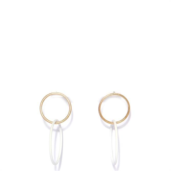 Envy White & Golden Hoop Earrings