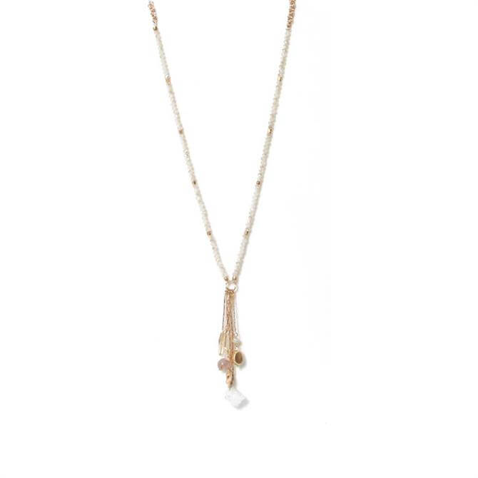 Envy White & Gold Beaded Long Necklace