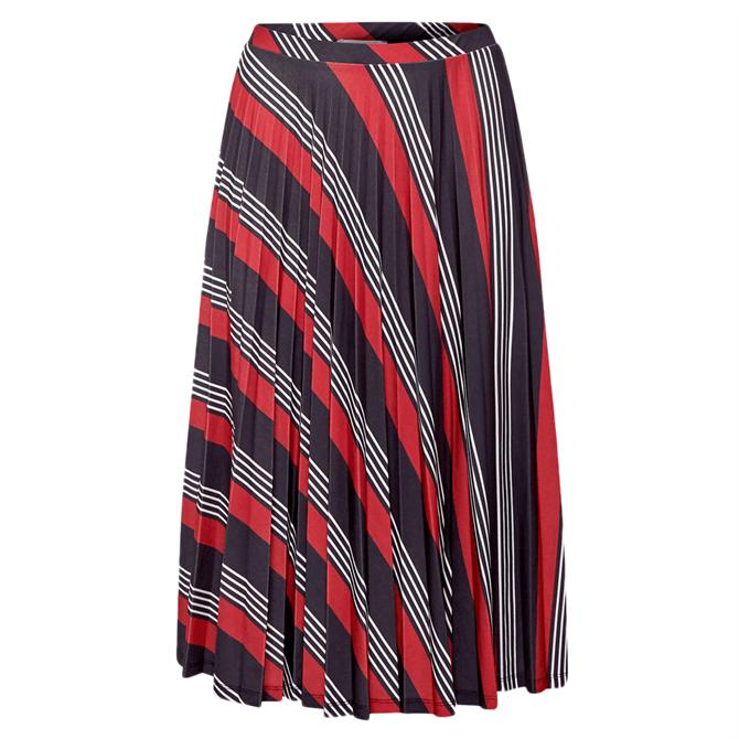 Esprit Pleated Geometric Print Midi Skirt