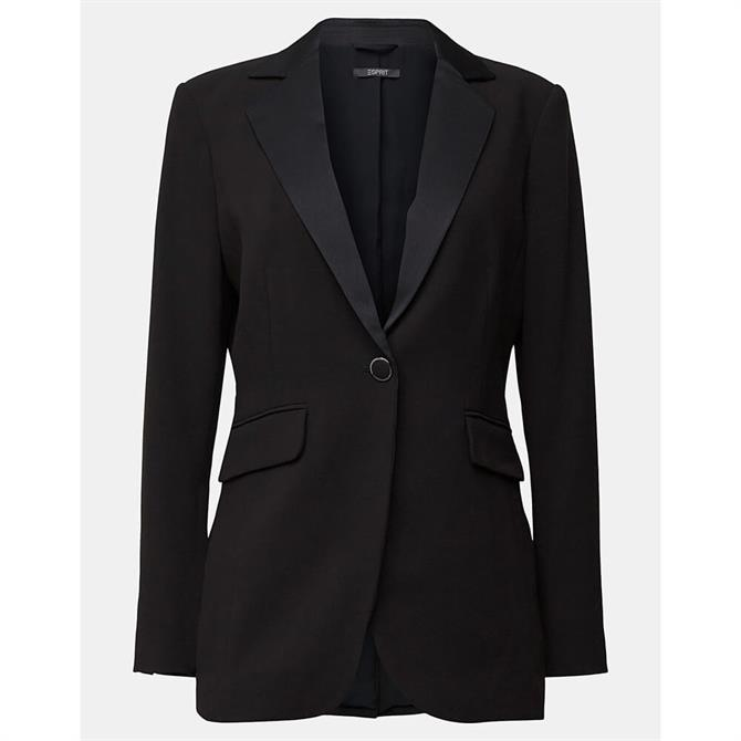 Esprit Satin Lapel Blazer with Shoulder Pads