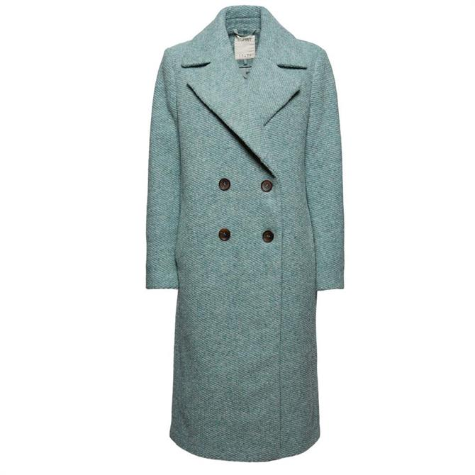 Esprit Double Breasted Wool Blend Tailored Coat in Dusty Green