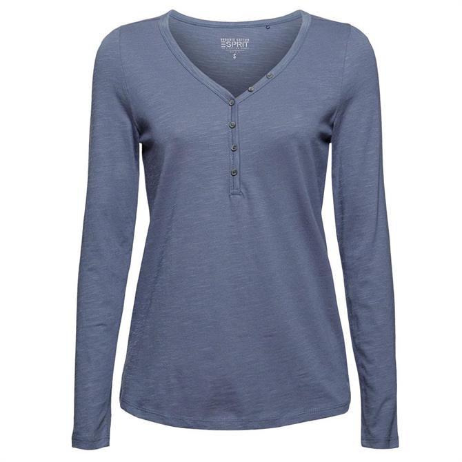 Esprit Henley Long Sleeve Organic Cotton Top