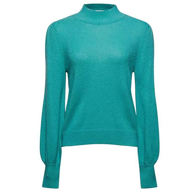 Esprit Puff Sleeve High Neck Aqua Green Sweater