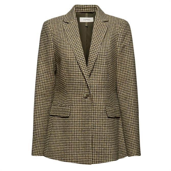Esprit Wool Blend Houndstooth Pattern Blazer
