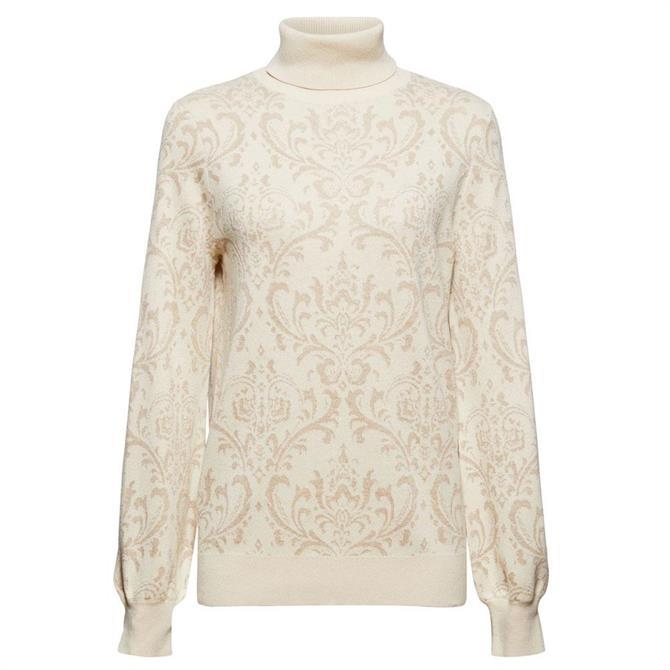 Esprit Polo Neck Ornamental Pattern Sweater