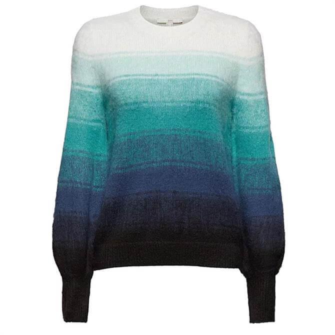 Esprit Wool Blend Puff Sleeves Striped Sweater
