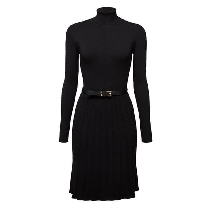 Esprit Belted Polo Neck Knit Dress