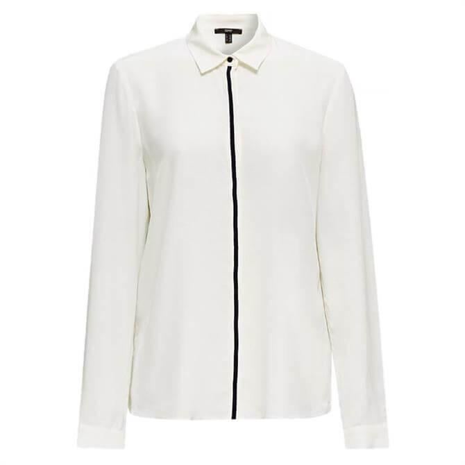 Esprit Contrast Stripe Ribbon Front Shirt