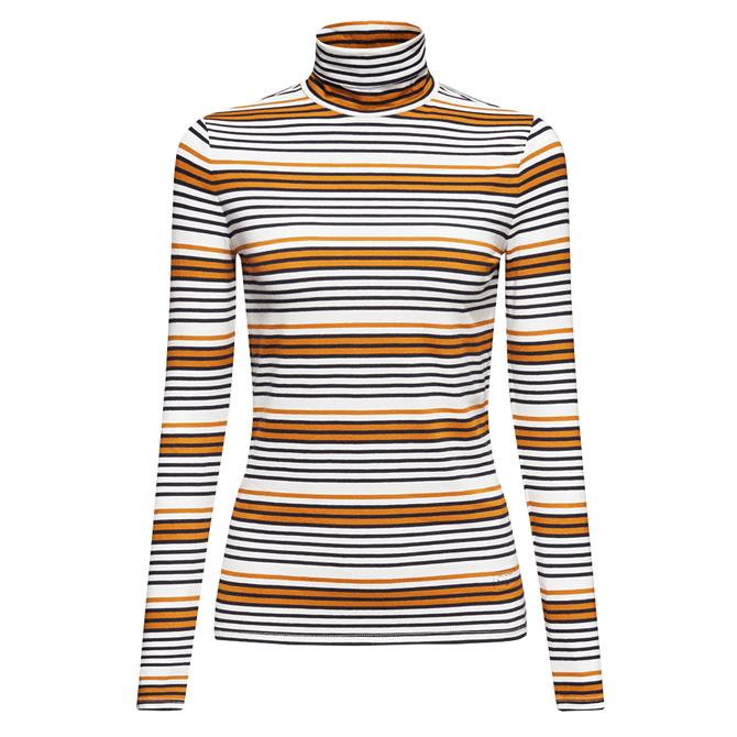 Esprit Contrast Striped Stretch Polo Neck Top