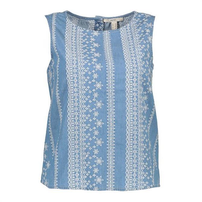 Esprit Embroidered Denim Sleeveless Top