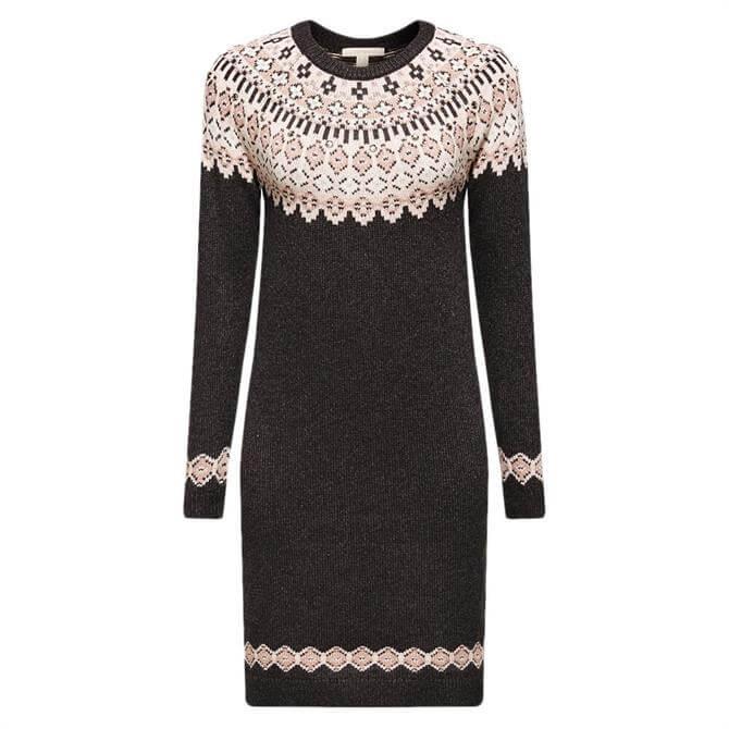 Esprit Fairisle Rhinestone Knitted Dress