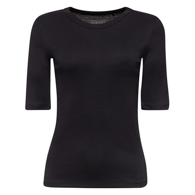 Esprit Basic Slim Fit Ribbed Cotton T-Shirt
