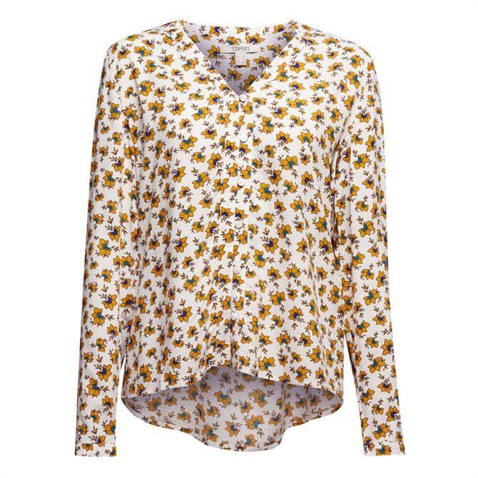 Esprit Floral Print Buttoned V-Neck Blouse