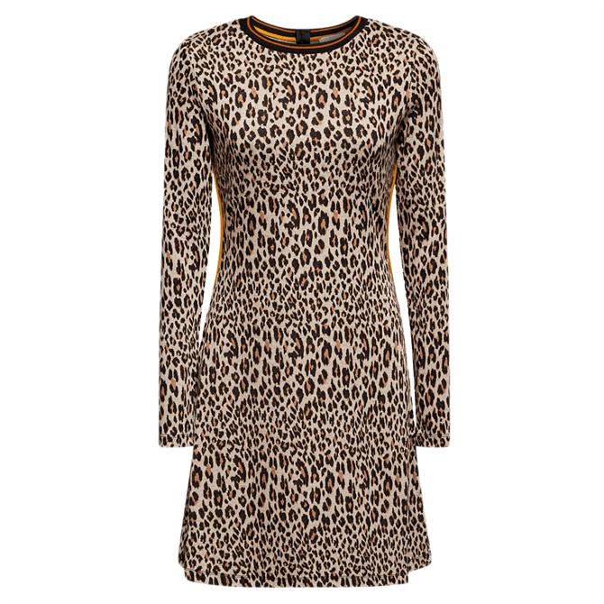 Esprit Leopard Print Striped Trim Dress