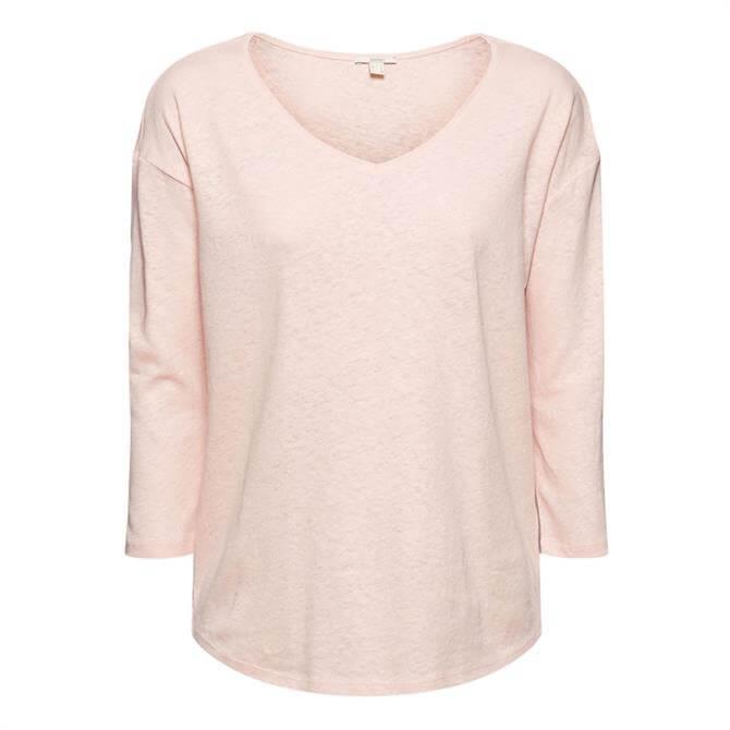 Esprit Linen Cotton Blend 3/4 Sleeve Top