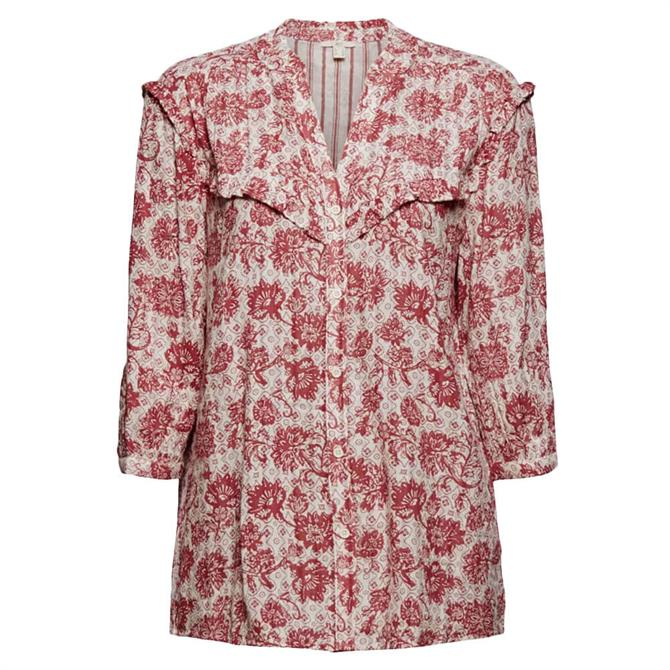 Esprit Double-Faced Paisley Print Blouse with Frills