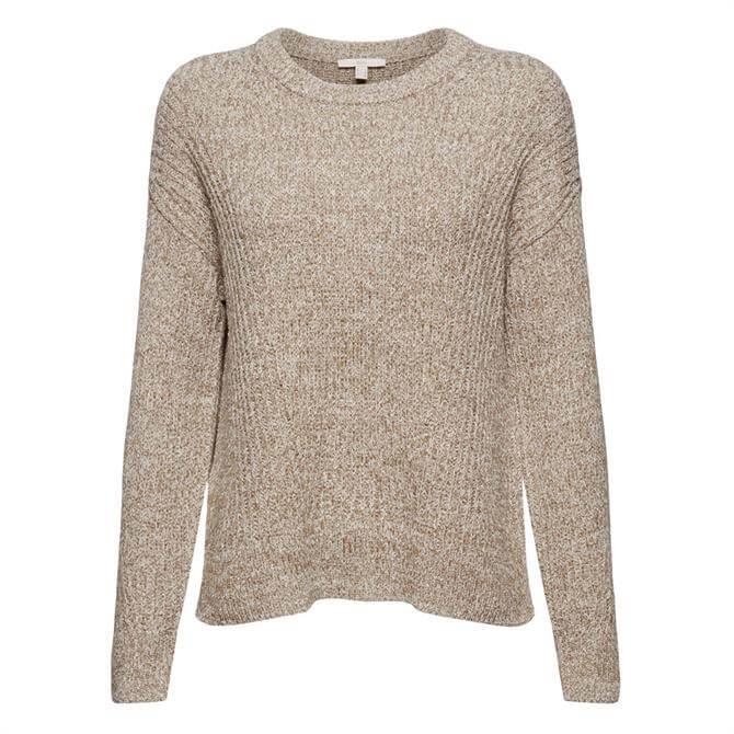 Esprit Ribbed Organic Cotton Round Neck Sweater
