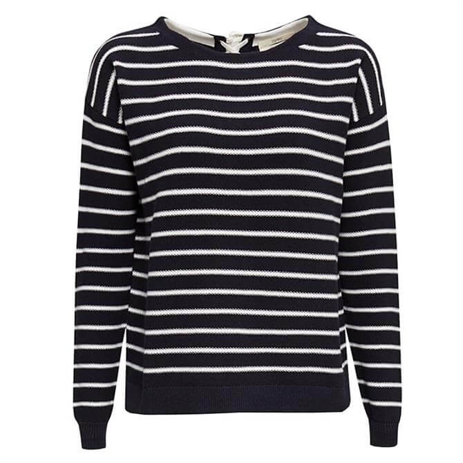 Esprit Striped Lace-Up Back Neck Sweater