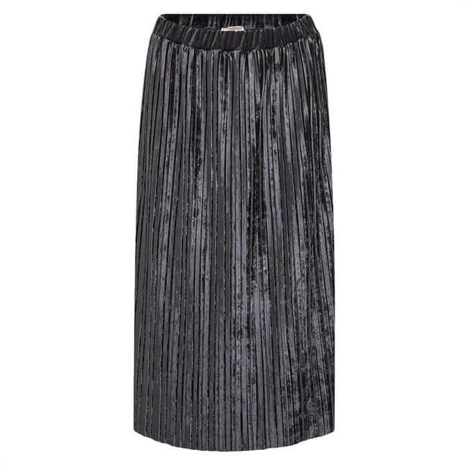 Esprit Pleated Velvet Midi Skirt