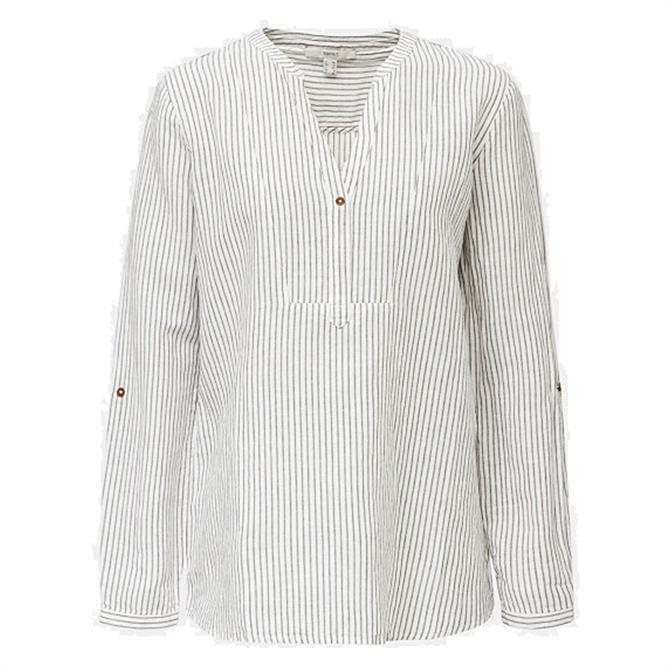 Esprit Linen Blend Navy Striped Blouse