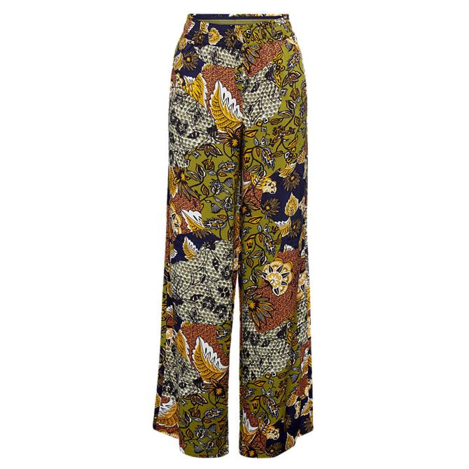 Esprit Mixed Leaf Print Relaxed Woven Trouser