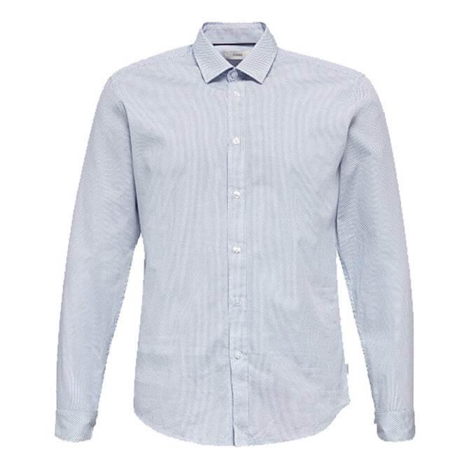 Esprit Pastel Blue Textured Cotton Shirt