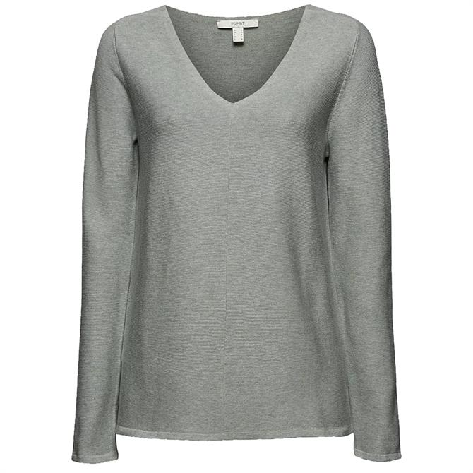 Esprit Organic Cotton Ribbed V-Neck Sweater