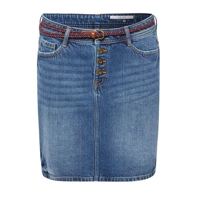 Esprit Stretch Denim Belted Skirt