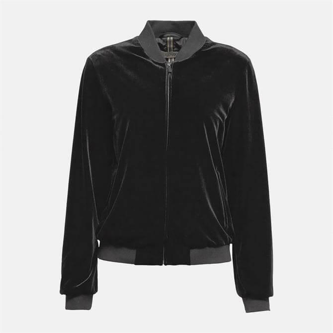 Esprit Black Velvet Bomber Jacket
