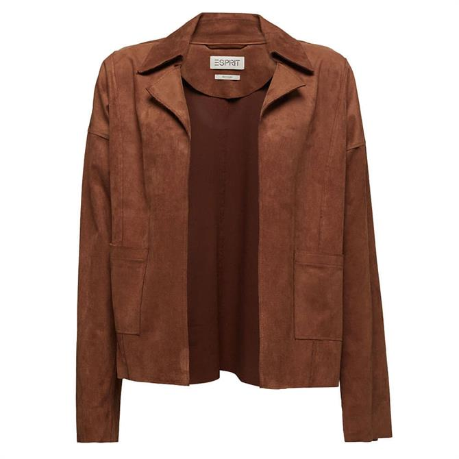 Esprit  Edge-to-Edge Faux Suede Jacket in Brown