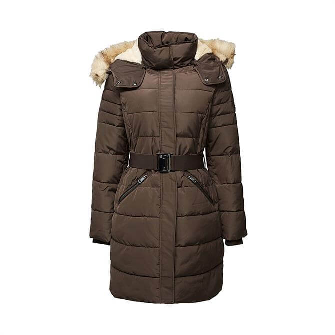 Esprit 3M Thinsulate™ Quilted Faux Fur Hooded Coat