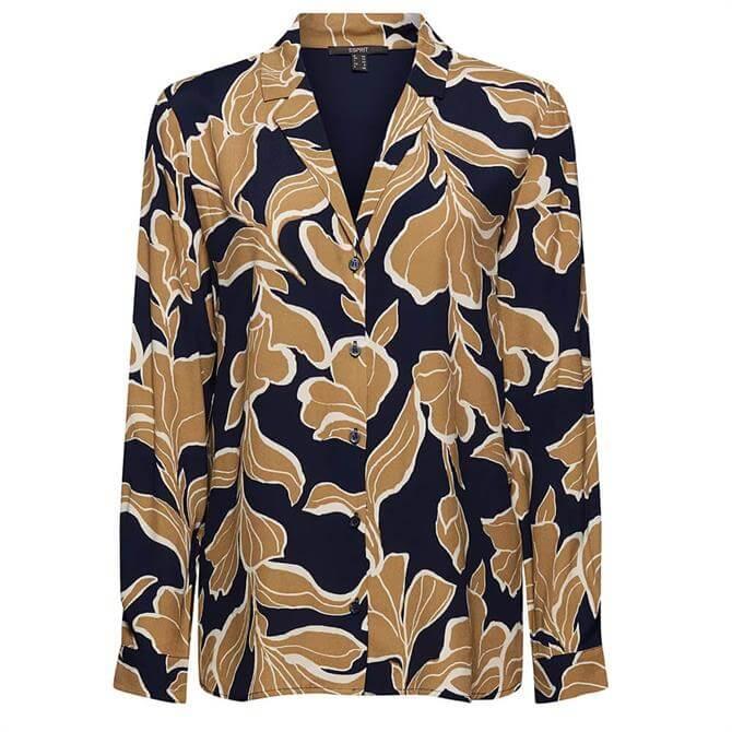 Esprit Bold Floral Print Long Sleeve Blouse