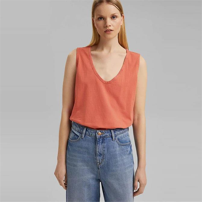 Esprit Broderie Anglaise Back Sleeveless Top