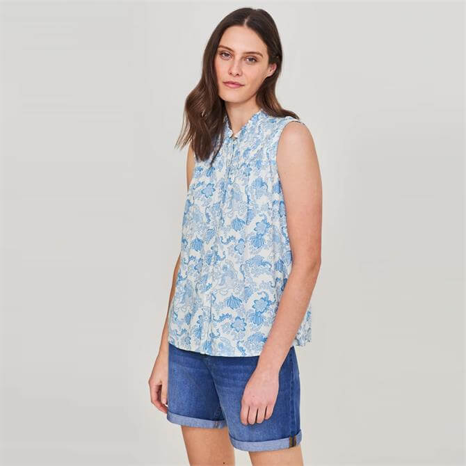 White Stuff Deeba Sleeveless Botanical Print Shirt