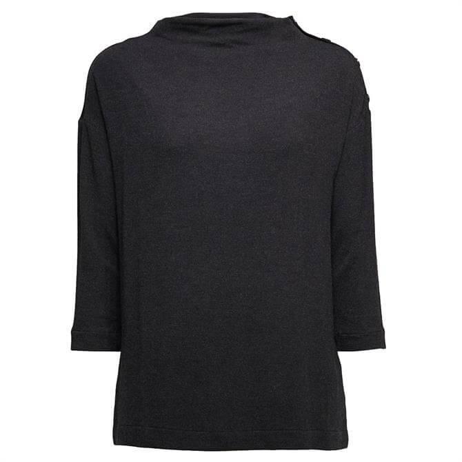 Esprit Draped Stand-Up Collar Jersey Top