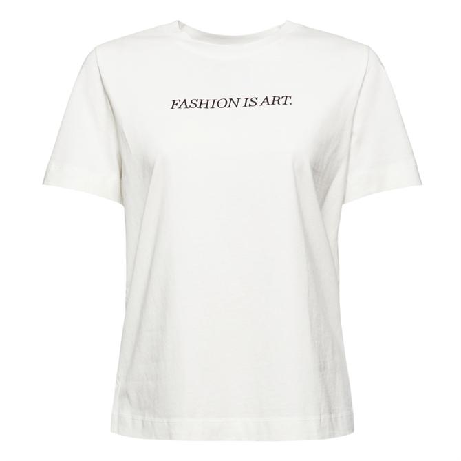 Esprit Embroidered  White Organic Cotton T-Shirt
