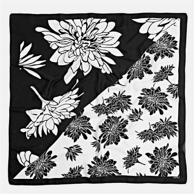 Esprit Monochrome Floral Print Square Scarf