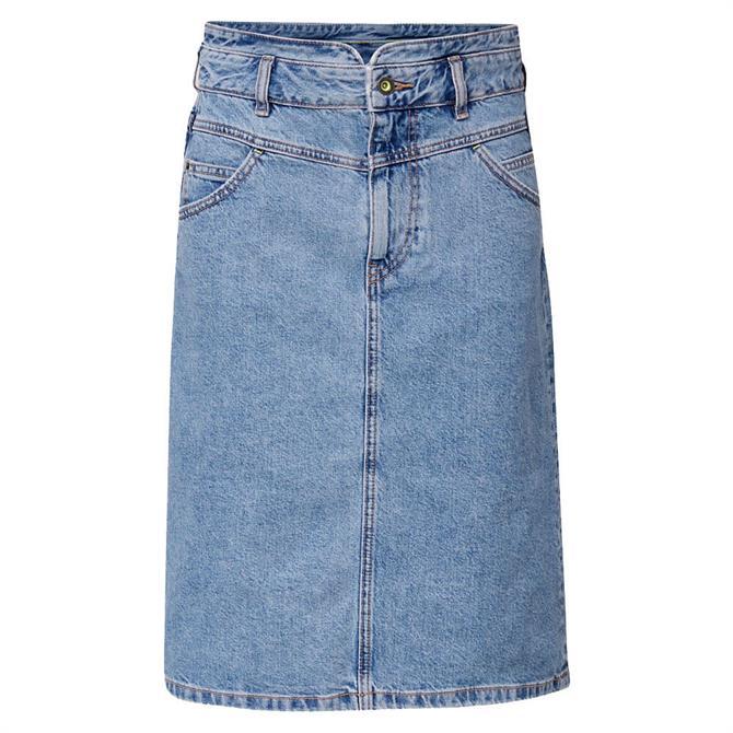 Esprit High Waist Denim Midi Skirt with Neon Details